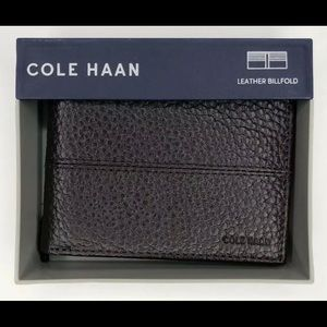 Cole Haan Chocolate Brown Pebble Leather Wallet